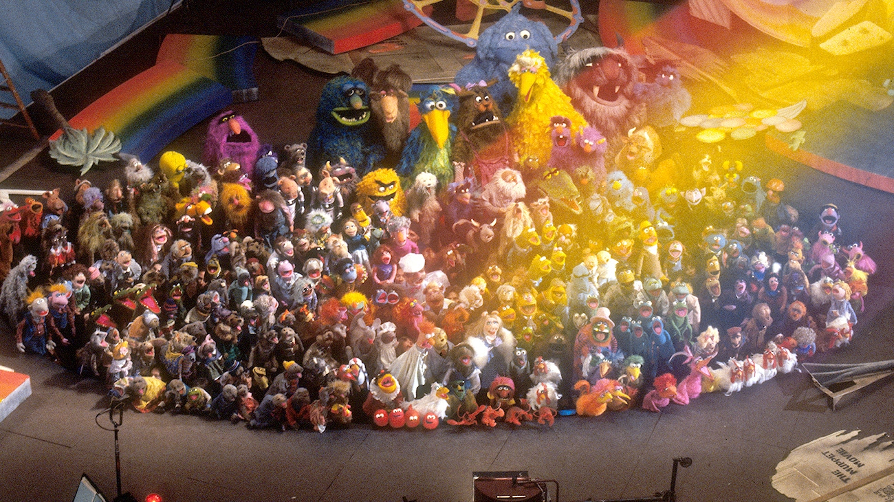 All the Muppets Singing behind a rainbow in the movie The Muppet Movie