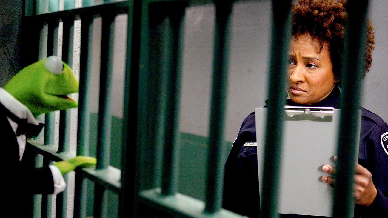 Kermit behind bars talking to Wanda Sykes as a police officer