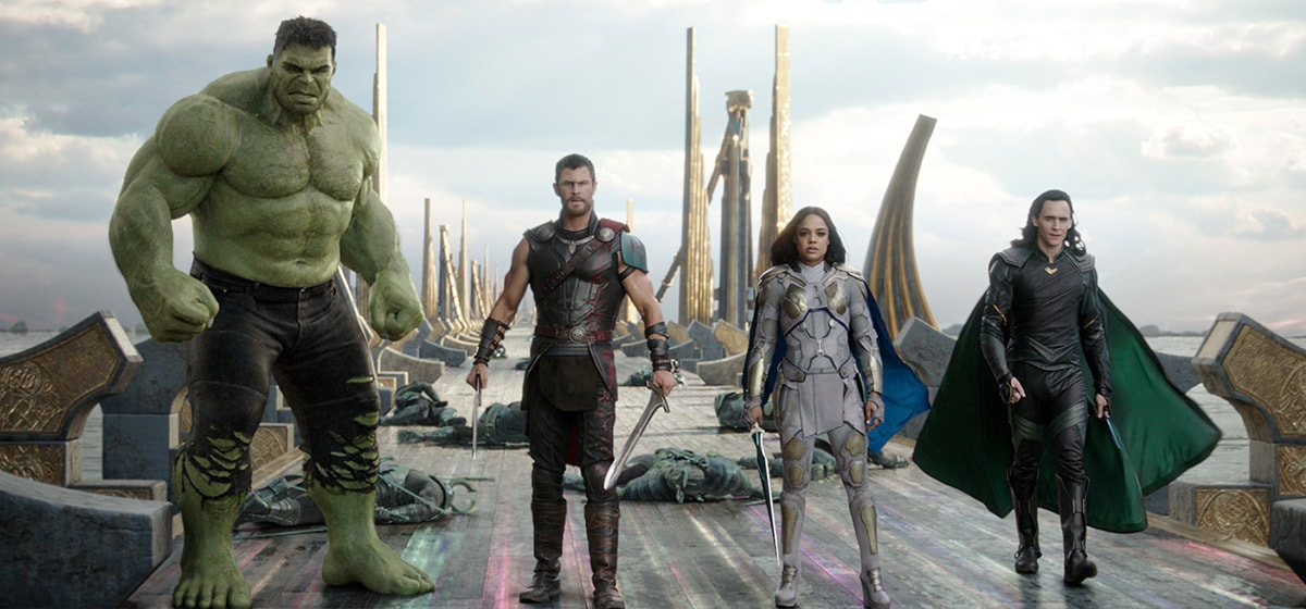 """Characters The Hulk, Thor, Valkyrie and Loki from the movie """"Thor: Ragnarok"""""""