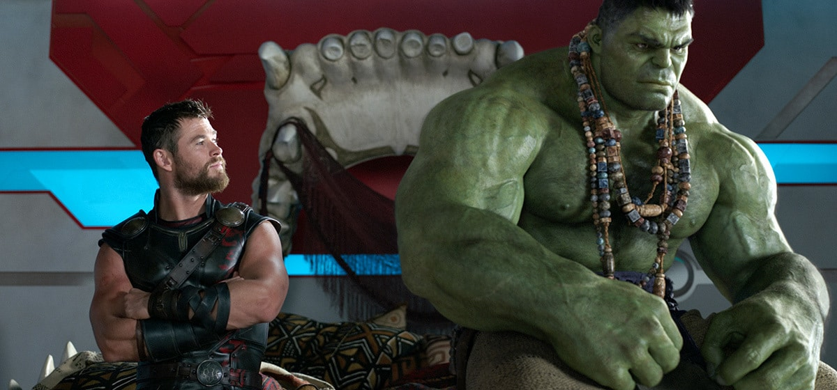 "Chris Hemsworth (Thor) and Mark Ruffalo (Hulk) from the movie ""Thor: Ragnarok"""