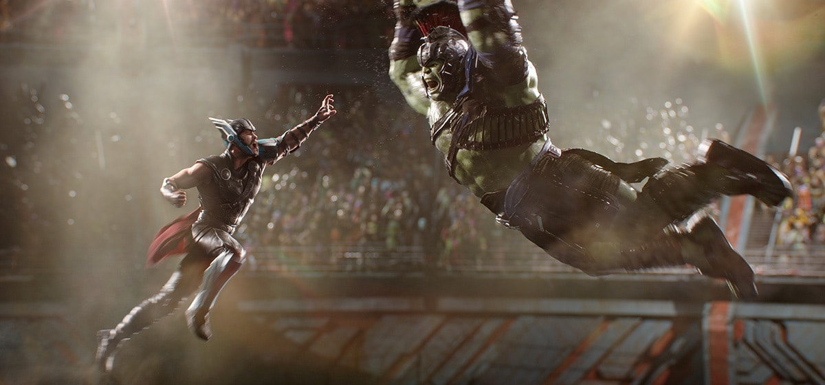 """Thor and Hulk battle in an arena from the movie """"Thor: Ragnarok"""""""