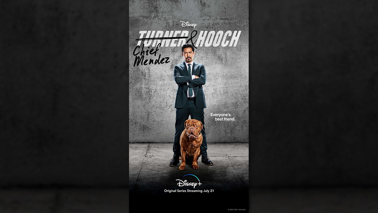 Chief Mendez from the Disney+ Original series Turner & Hooch. | Disney+ | Original series streaming July 21.