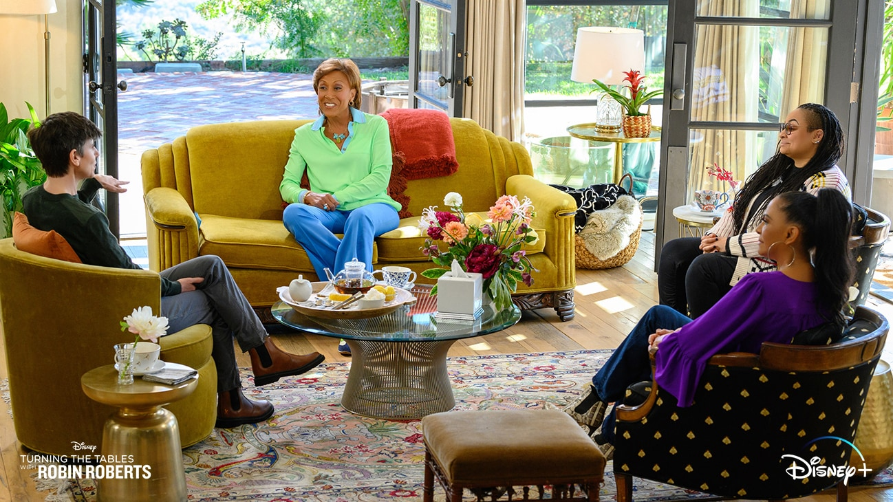 "TURNING THE TABLES WITH ROBIN ROBERTS - ""Episode 104"" - Sheila E, Raven Symone, Tig Notaro. (Disney/Richard Harbaugh) TIG NOTARO, ROBIN ROBERTS, RAVEN SYMONE, SHEILA E"