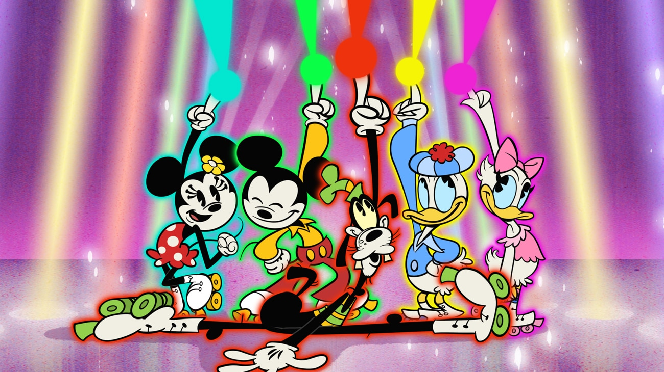 """THE WONDERFUL WORLD OF MICKEY MOUSE - """"Starlight Nights"""" - Mickey and his friends' disco night at the roller rink is placed in peril when Peg-Leg Pete and his gang crash the party and ruin the fun. (Disney+) MINNIE MOUSE, MICKEY MOUSE, GOOFY, DONALD DUCK, DAISY DUCK"""