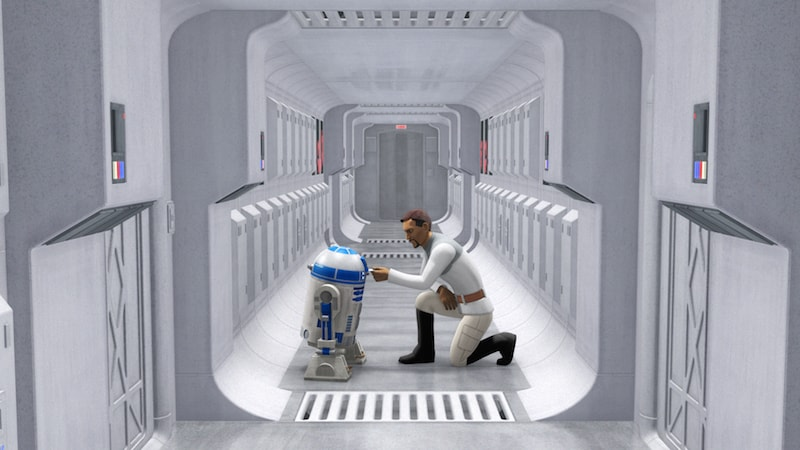 R2-D2 and Senator Bail Organa aboard the Tantive IV