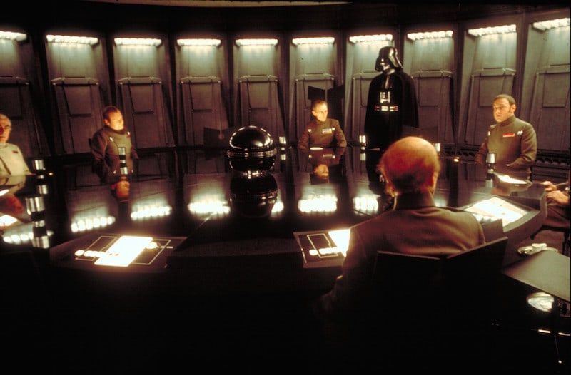 Grand Moff Tarkin and Darth Vader announcing the Emperor's dissolution of the Senate