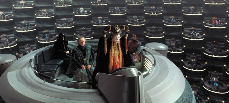 Queen Amidala addressing the Galactic Senate