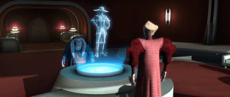 Cad Bane discussing his hostage terms with Chancellor Palpatine