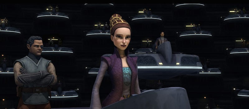 Senator Amidala addressing the Galactic Senate