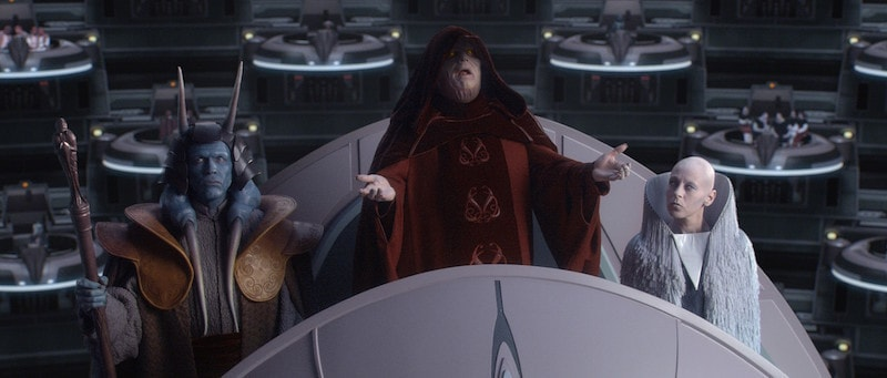 Darth Sidious declaring the formation of the Galactic Empire to the Senate