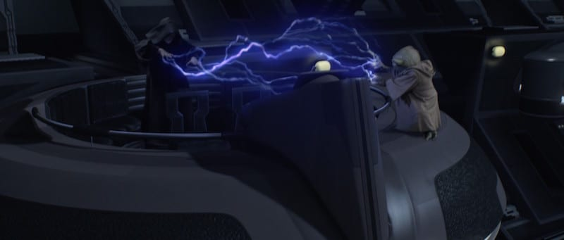 Darth Sidious and Yoda fighting in the Galactic Senate Chamber