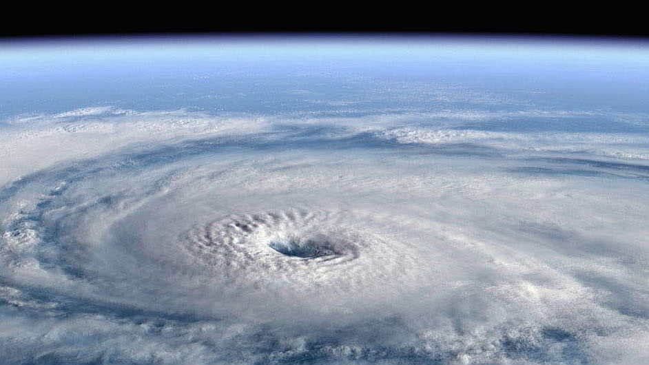Photo of hurricane forming as seen from above Earth