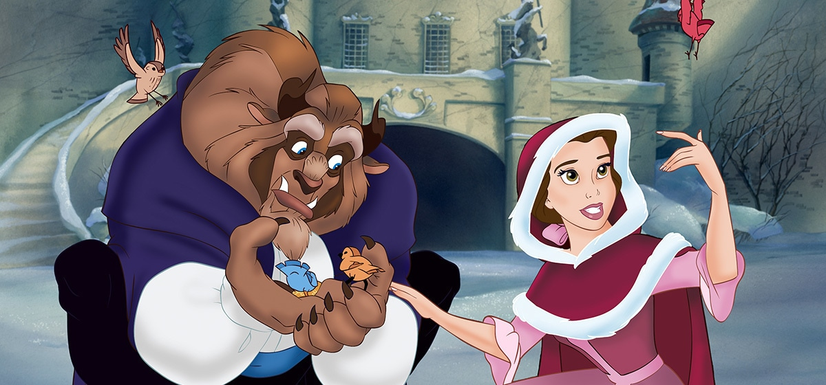 Paige O'Hara as Belle and Robby Benson as Beast in the Disney movie Beauty and the Beast (1991).