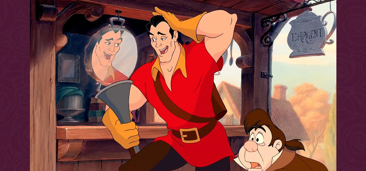 Jesse Corti as Lefou and Richard White as Gaston in the Disney movie Beauty and the Beast (1991).