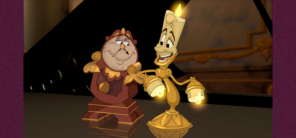 Jerry Orbach as Lumiere and David Ogden Stiers as Cogsworth/Narrator in the Disney movie Beauty and the Beast (1991).