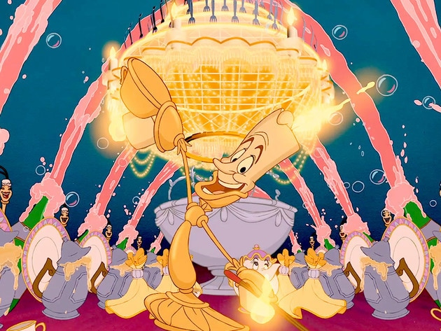 Lumiere and other friends entertain Belle on her arrival to the castle.