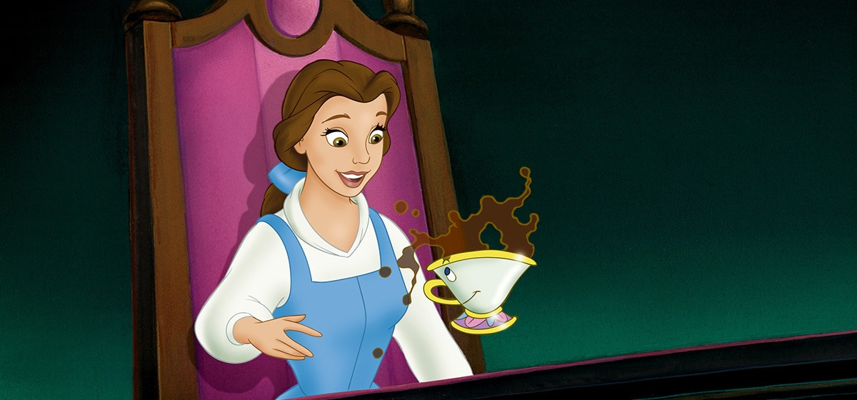 Paige O'Hara as Belle and Bradley Pierce as Chip in the Disney movie Beauty and the Beast (1991).