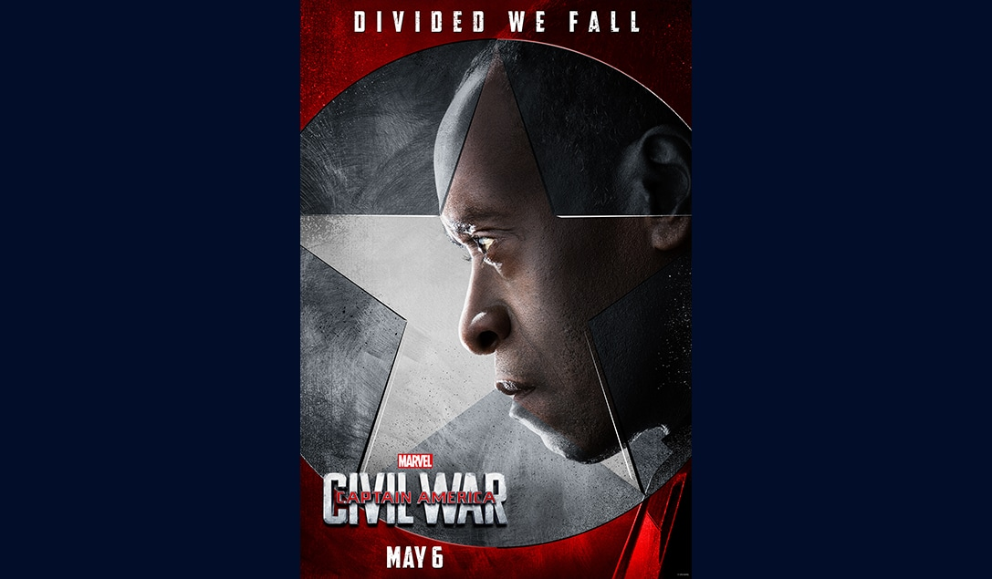 Don Cheadle (Lieutenant James Rhodes/War Machine) in Marvel's Captain America Civil War