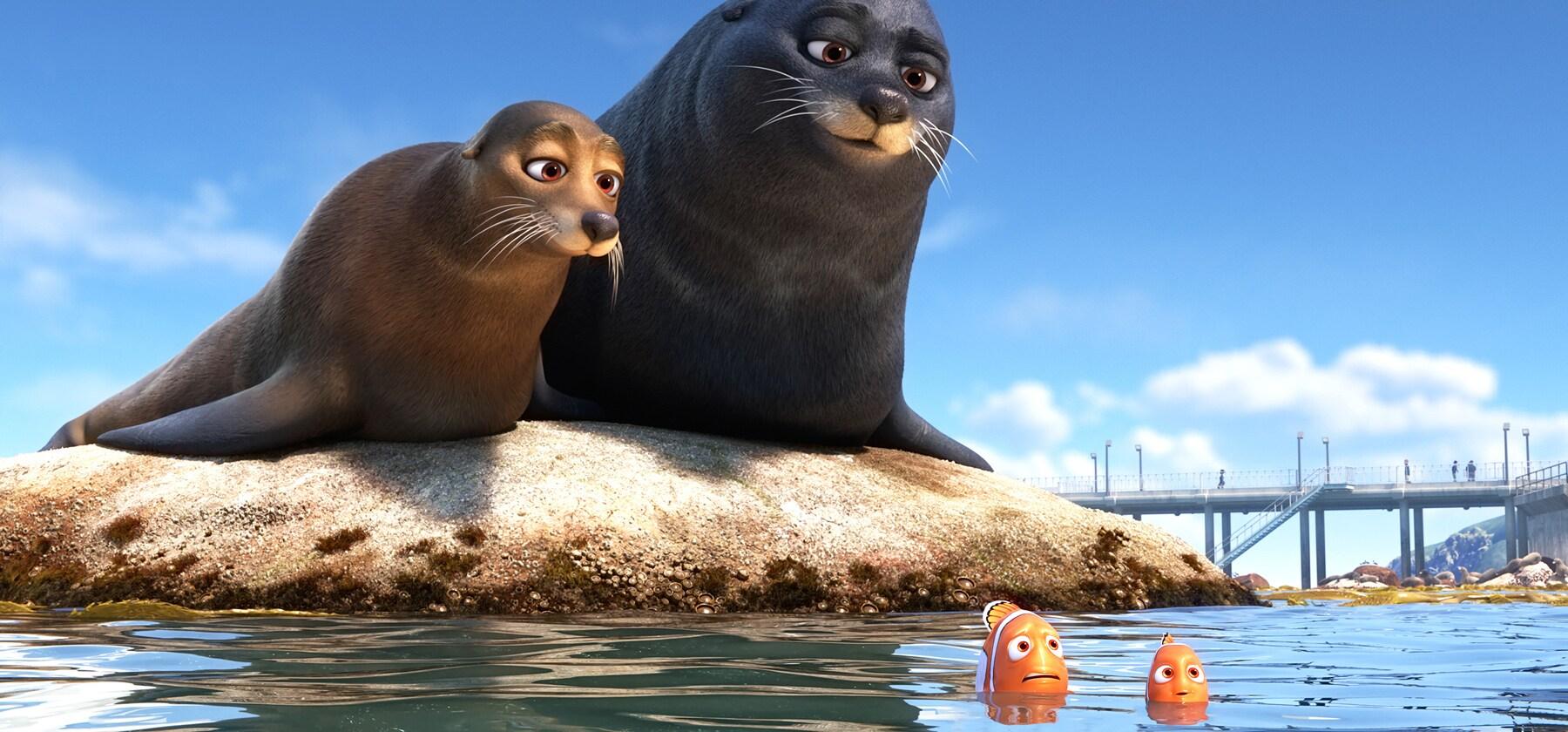 "Albert Brooks (Marlin), Idris Elba (Fluke), Dominic West (Rudder), and Hayden Rolence (Nemo) in ""Finding Dory"""