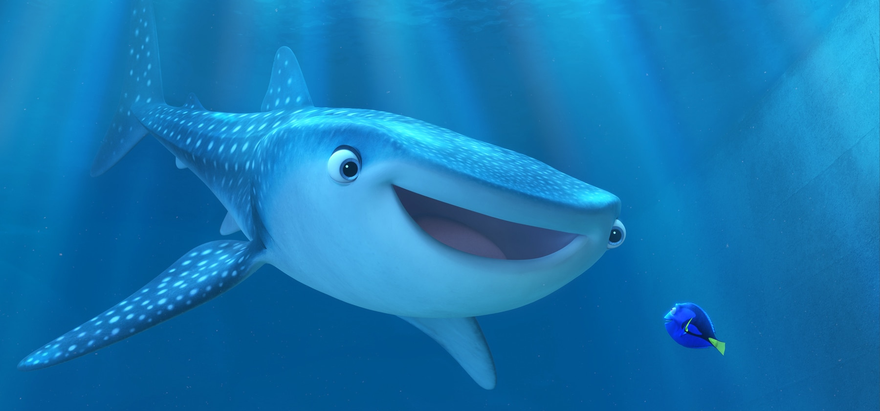 """Dory (voiced by Ellen DeGeneres) talking to Destiny (a shark voiced by Kaitlin Olson) in """"Finding Dory"""""""