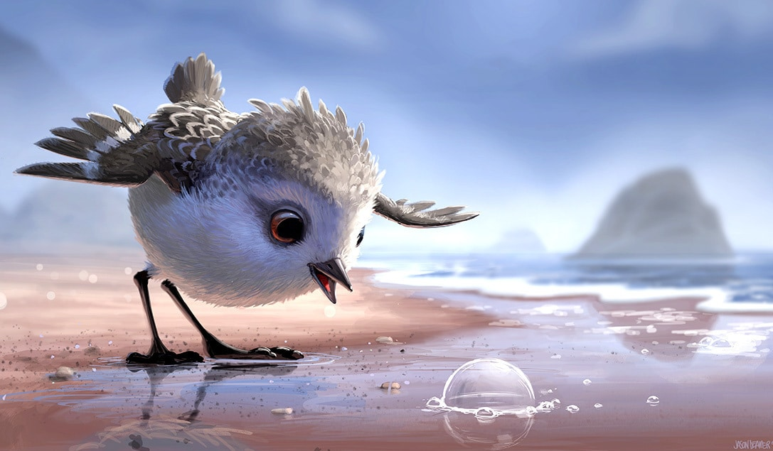 """Piper a small bird at the ocean who stars in the animated short that released theatrically with """"Finding Dory"""""""