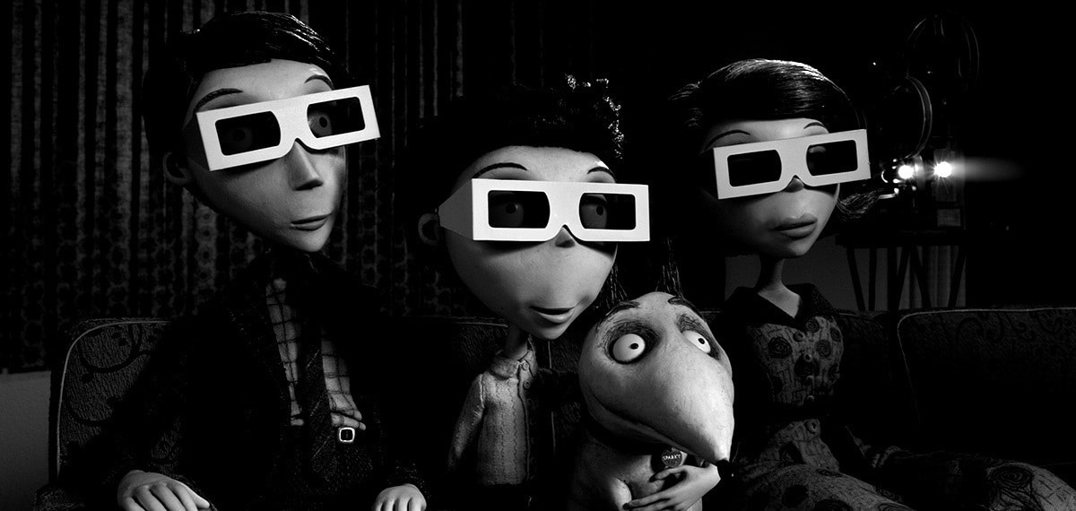 Victor and his family wearing 3d glasses with Sparky
