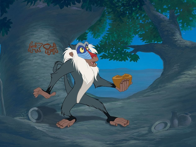 Rafiki has a vision while in his tree.