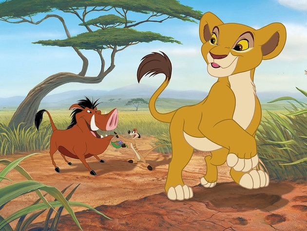 Kiara hangs out with Timon and Pumbaa.