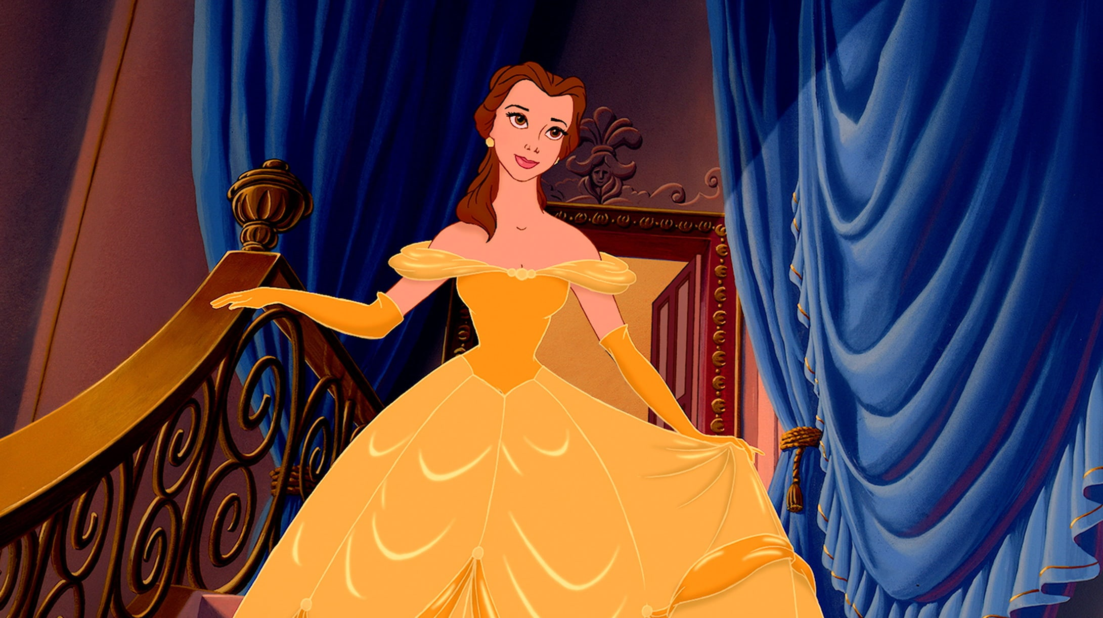 Disney princess Belle in her yellow dress.