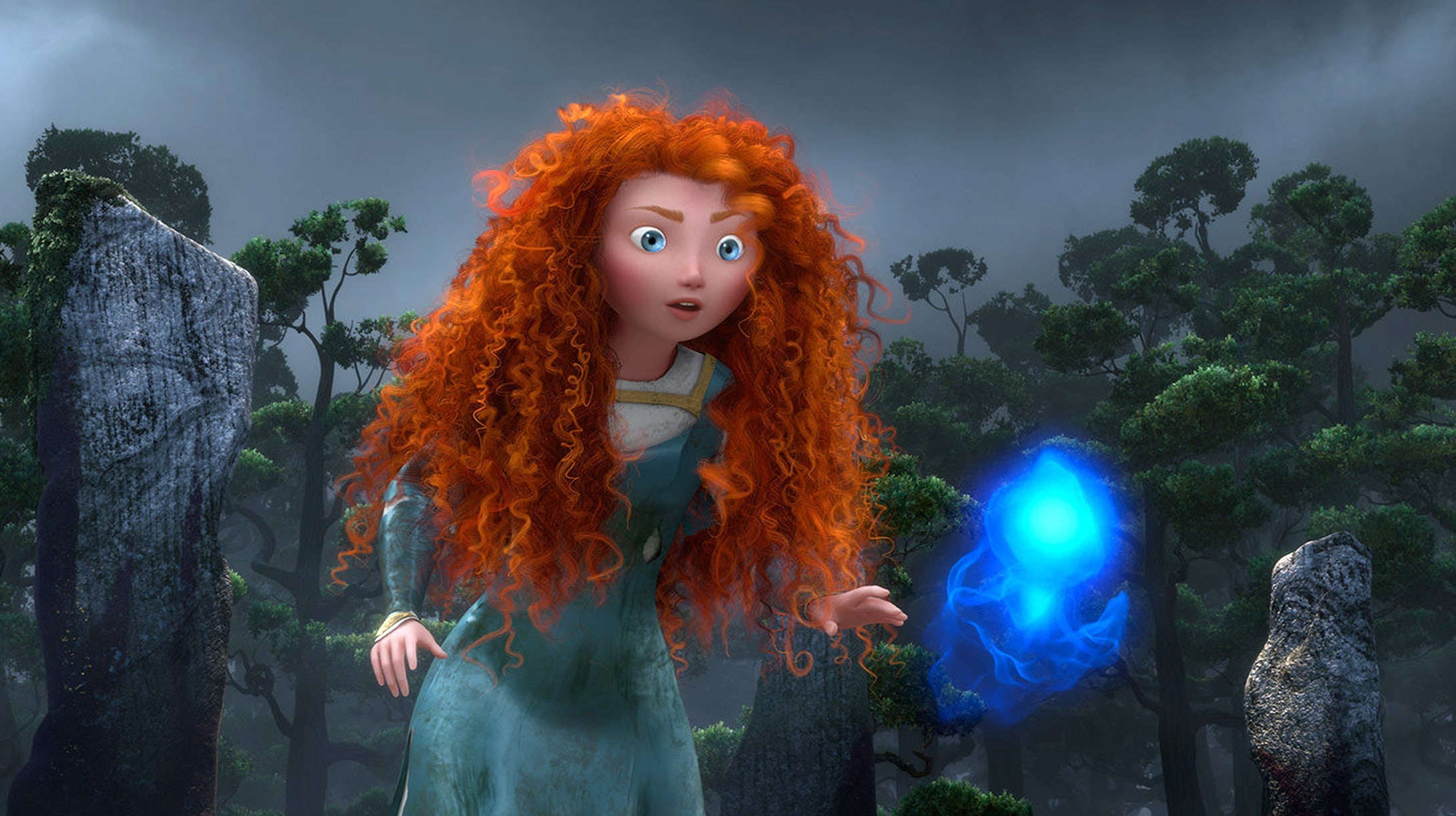 Merida spotting a wisp in the forest.