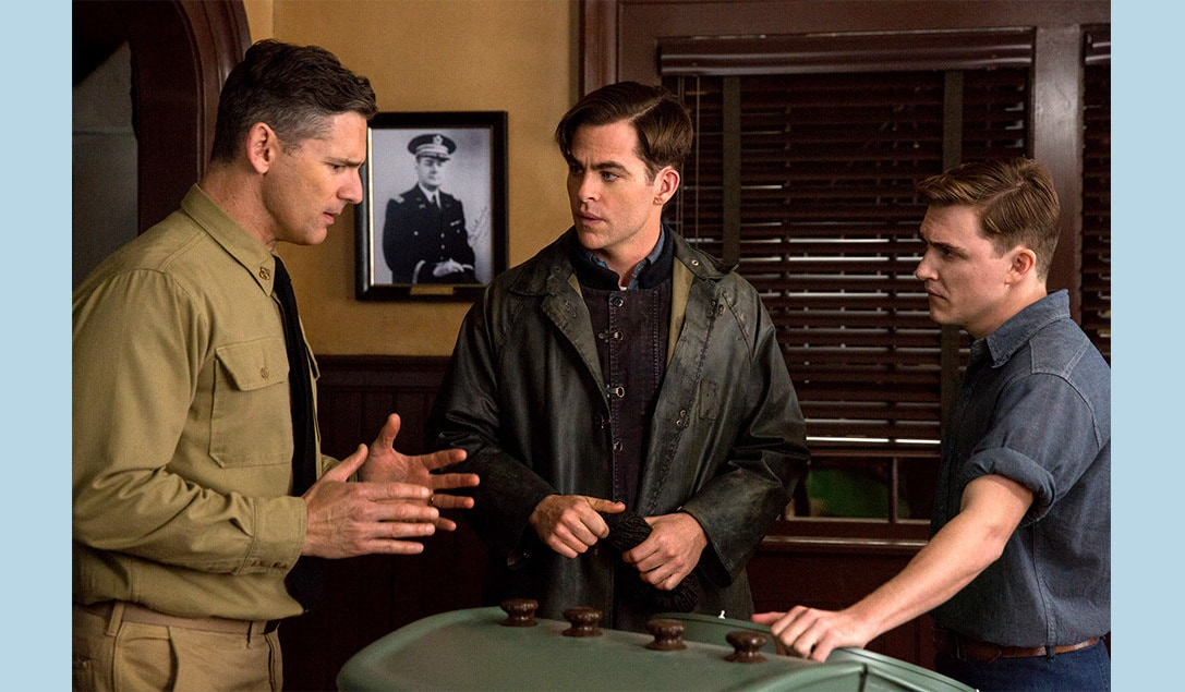 """Eric Bana, Kyle Gallner, and Chris Pine in the movie """"The Finest Hours"""""""