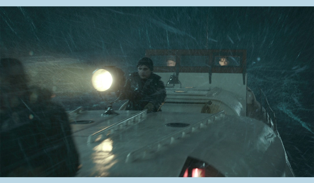 """Ben Foster, Kyle Gallner, Chris Pine, and John Magaro in the movie """"The Finest Hours"""""""