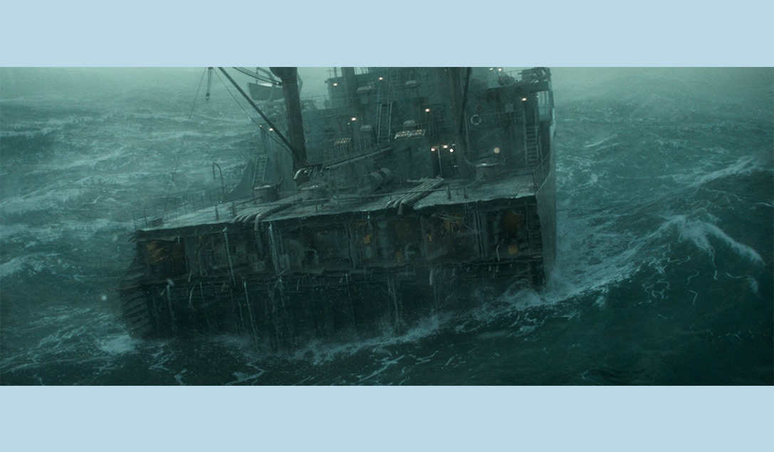 """Image of the severely damaged ship in the movie """"The Finest Hours"""""""