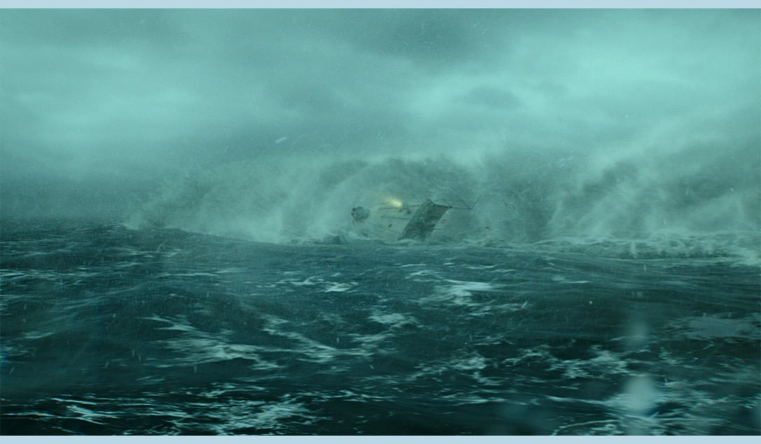 """The Coast Guard boat is engulfed by a large wave from the movie """"The Finest Hours"""""""