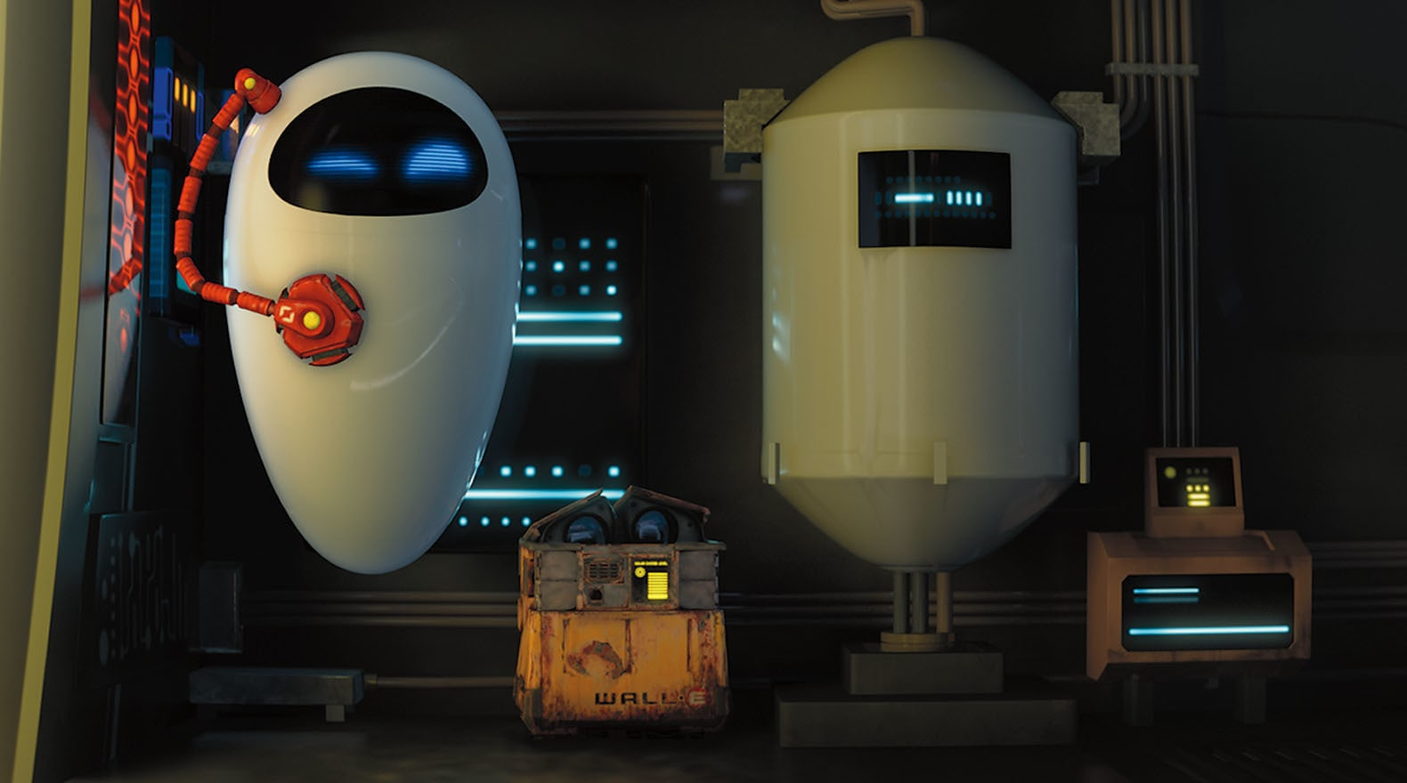"""Wall-E and EVE with a group of robots from the movie """"Wall-E"""""""
