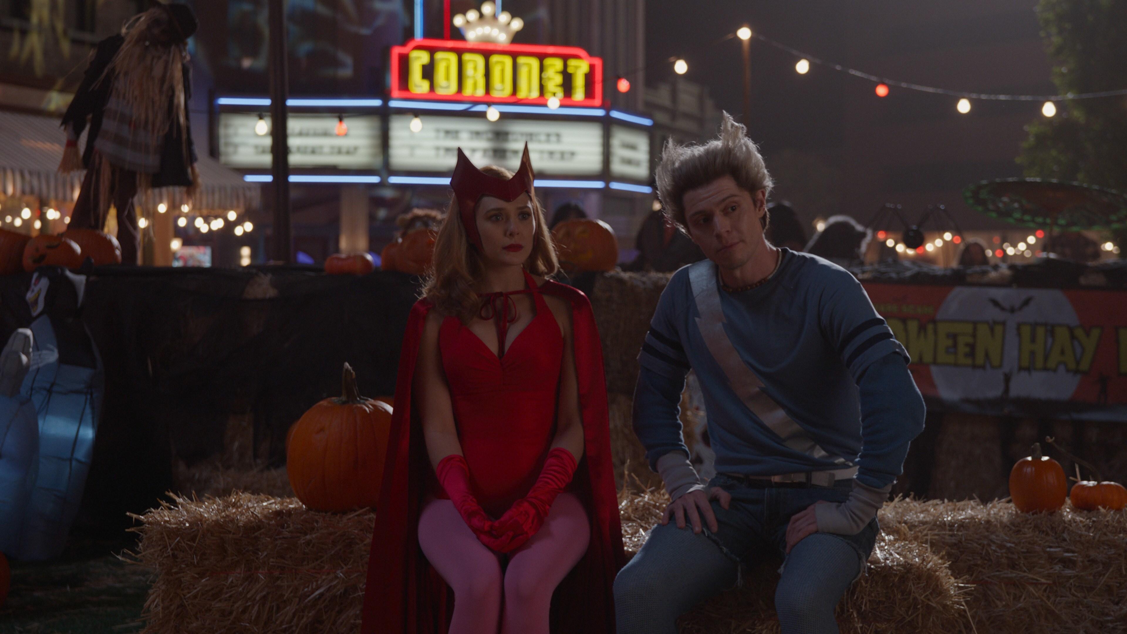 (L-R): Elizabeth Olsen as Wanda Maximoffand Evan Peters as Pietro in Marvel Studios' WANDAVISION exclusively on Disney+. Photo courtesy of Marvel Studios. ©Marvel Studios 2021. All Rights Reserved.