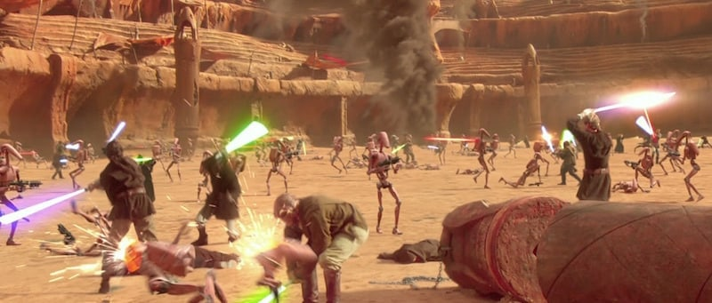 Jedi Knights fighting Separatist Battle Droids during the Battle of Geonosis