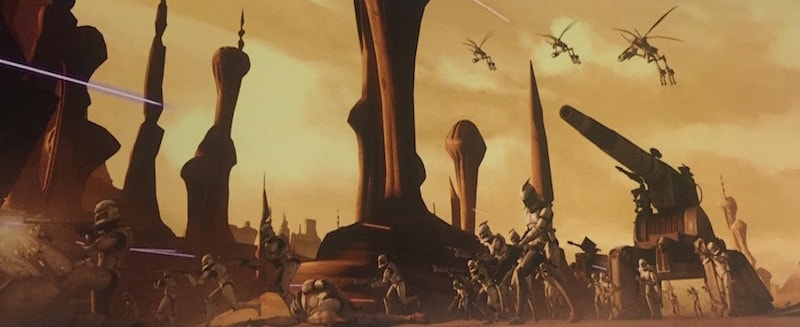 Republic forces fighting Geonosians during the second Battle of Geonosis