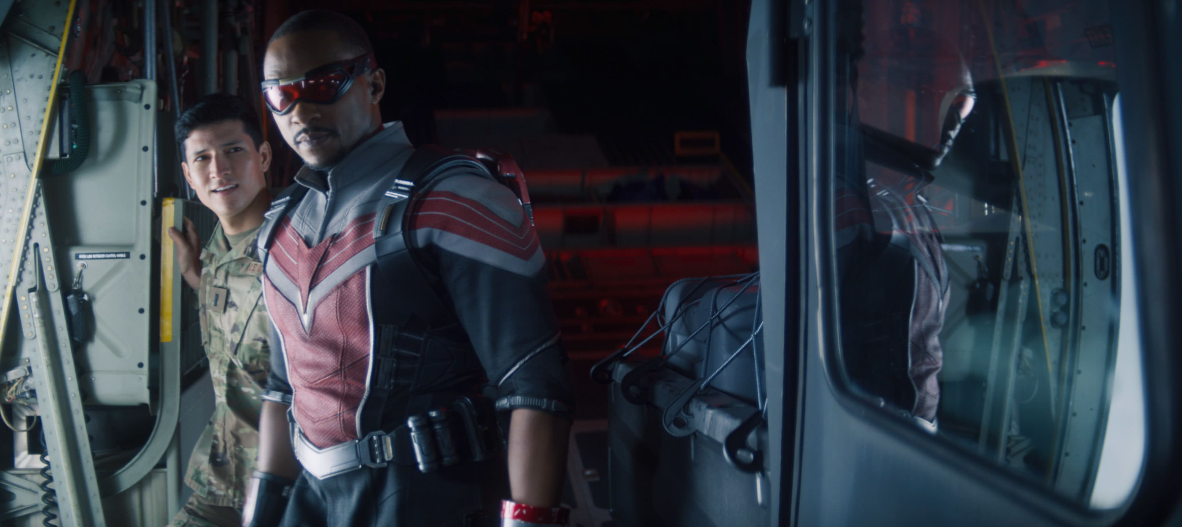 (Center): Falcon/Sam Wilson (Anthony Mackie) in Marvel Studios' THE FALCON AND THE WINTER SOLDIER exclusively on Disney+. Photo courtesy of Marvel Studios. ©Marvel Studios 2021. All Rights Reserved.