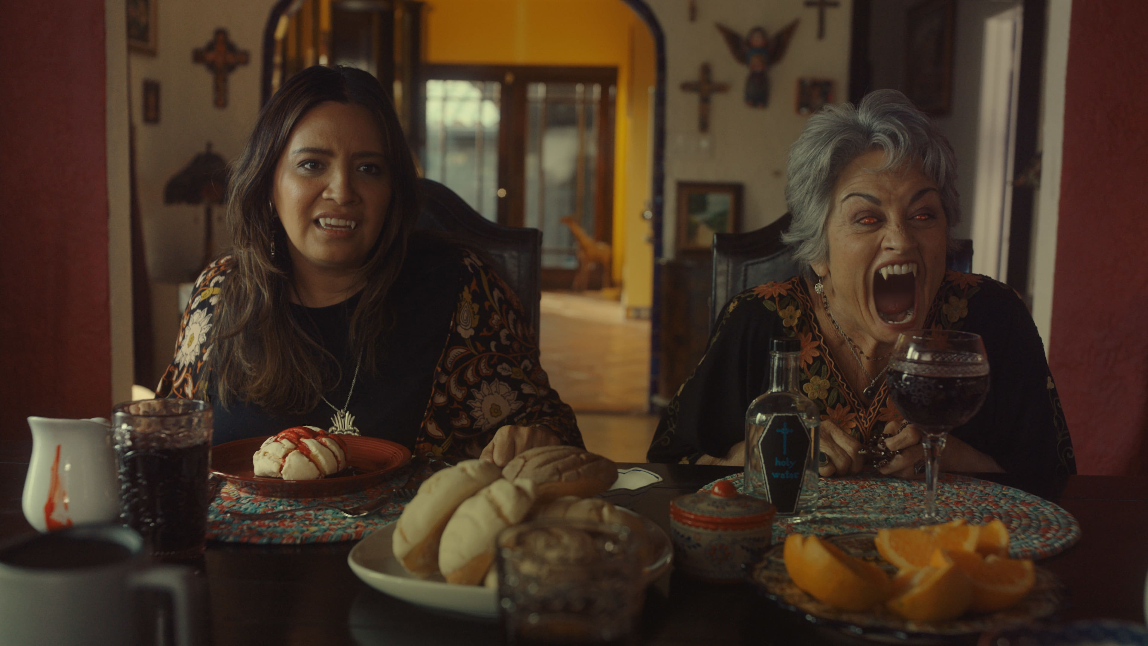 """(L-R): Cristela Alonzo as Lupe Garcia and Terri Hoyos as Cuca Garcia in Disney's """"LAUNCHPAD"""" Season One short, """"GROWING FANGS,"""" Written and Directedby Ann Marie Pace. Photo courtesy of Disney. © 2021 Disney Enterprises, Inc. All Rights Reserved."""