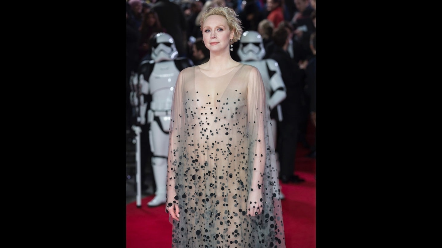 Gwendoline Christie on the red carpet at the Star: Wars The Last Jedi premiere