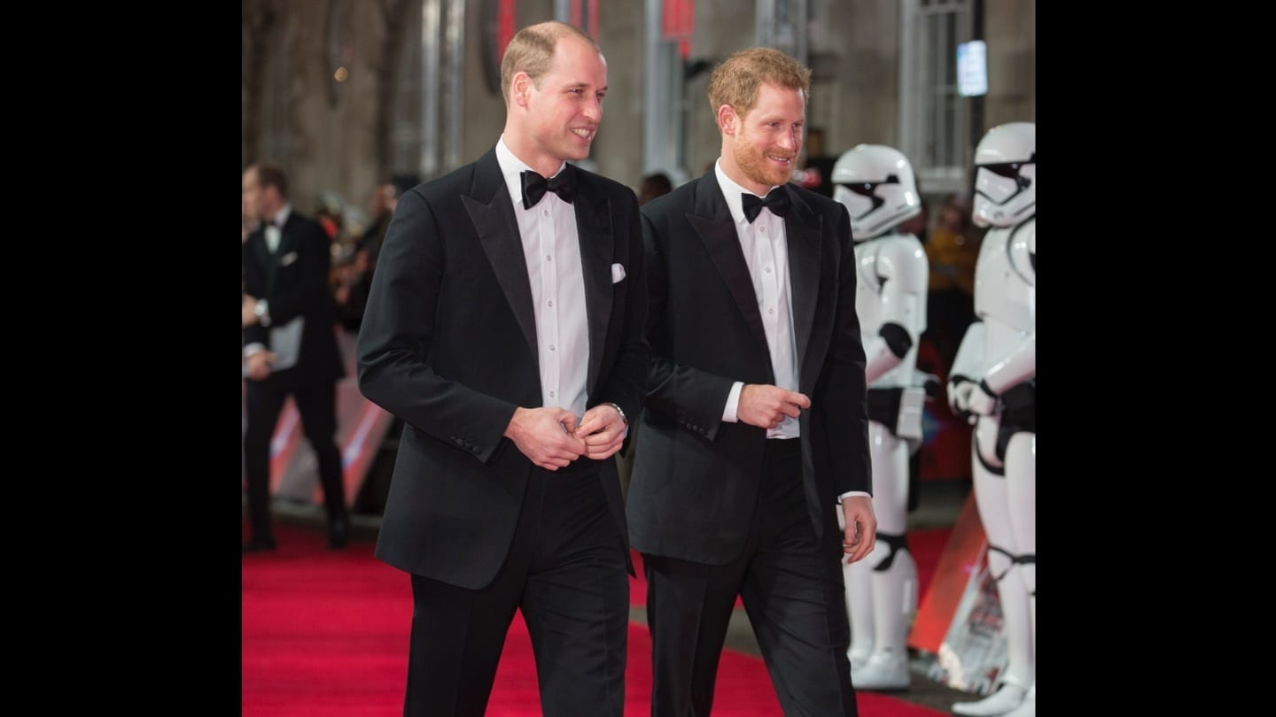 Prince William and Prince Harry walking down the red carpet at the Star: Wars The Last Jedi premiere