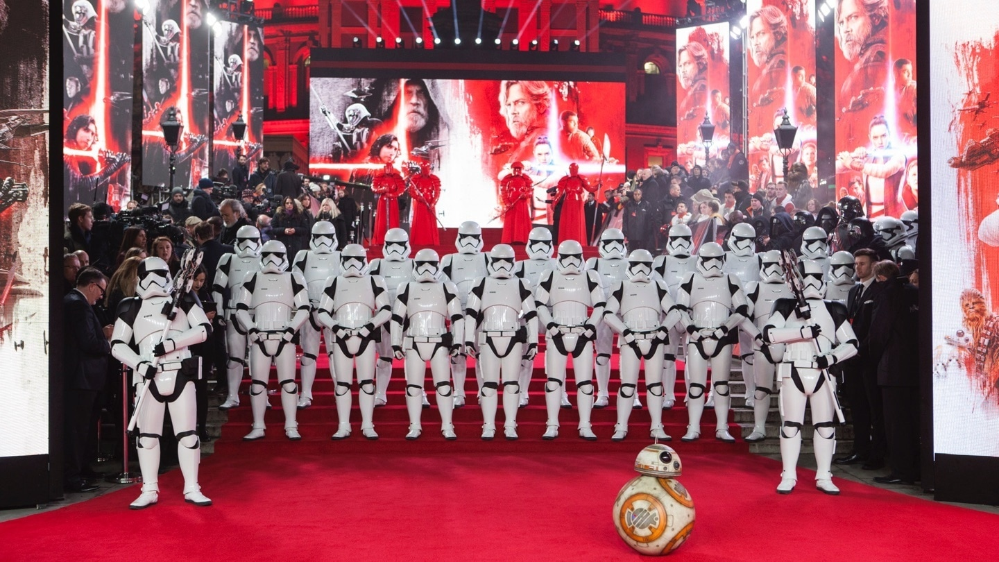 BB-8 and Stormtroopers on the red carpet at the Star: Wars The Last Jedi premiere