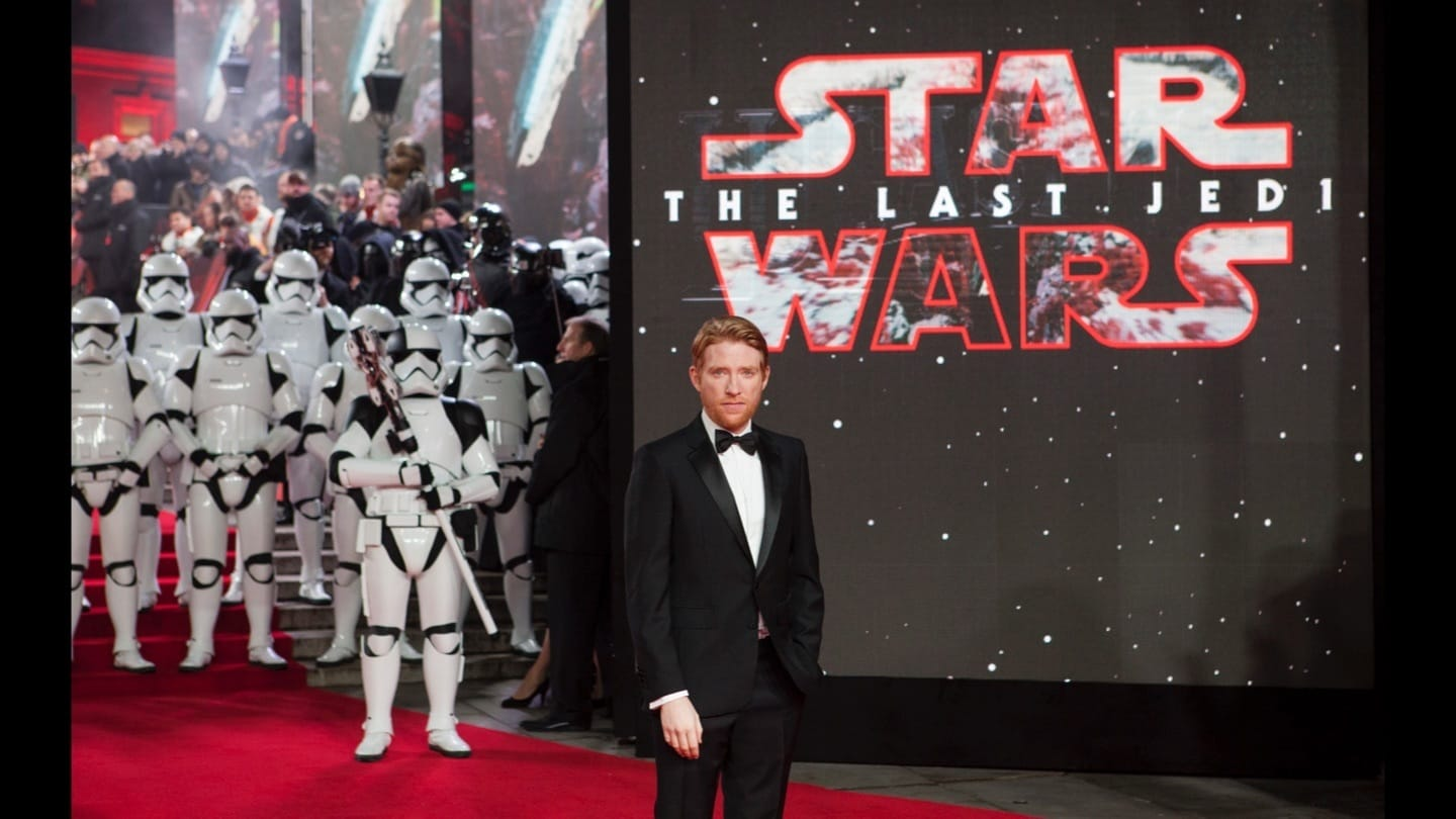 Domhnall Gleeson on the red carpet at the Star: Wars The Last Jedi premiere