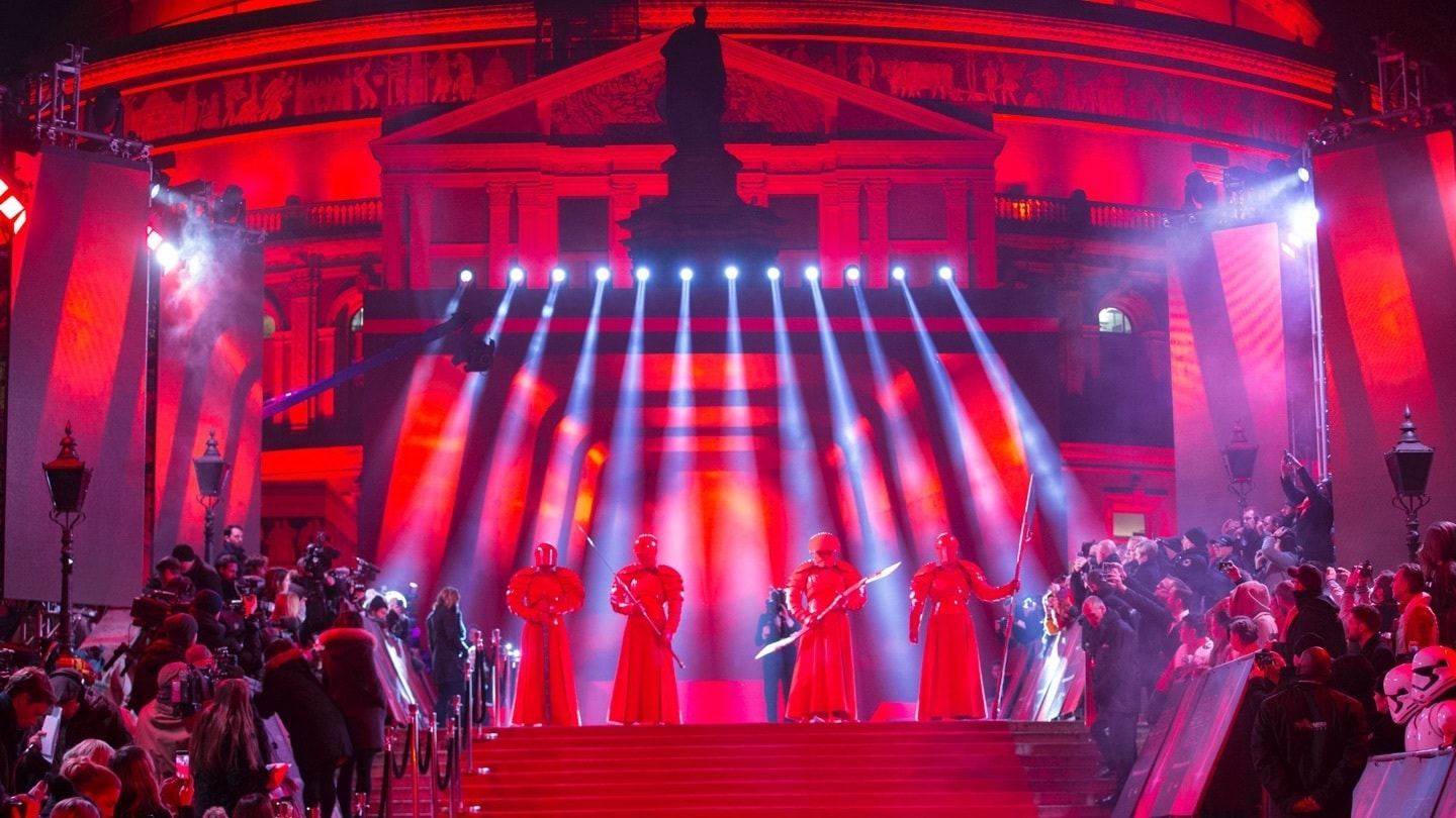 The Elite Praetorian Guard on the red carpet in front of the Royal Albert Hall at the Star: Wars The Last Jedi premiere