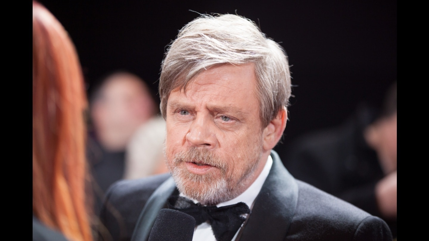 Close-up of Mark Hamill being interviewed on the red carpet at the Star: Wars The Last Jedi premiere
