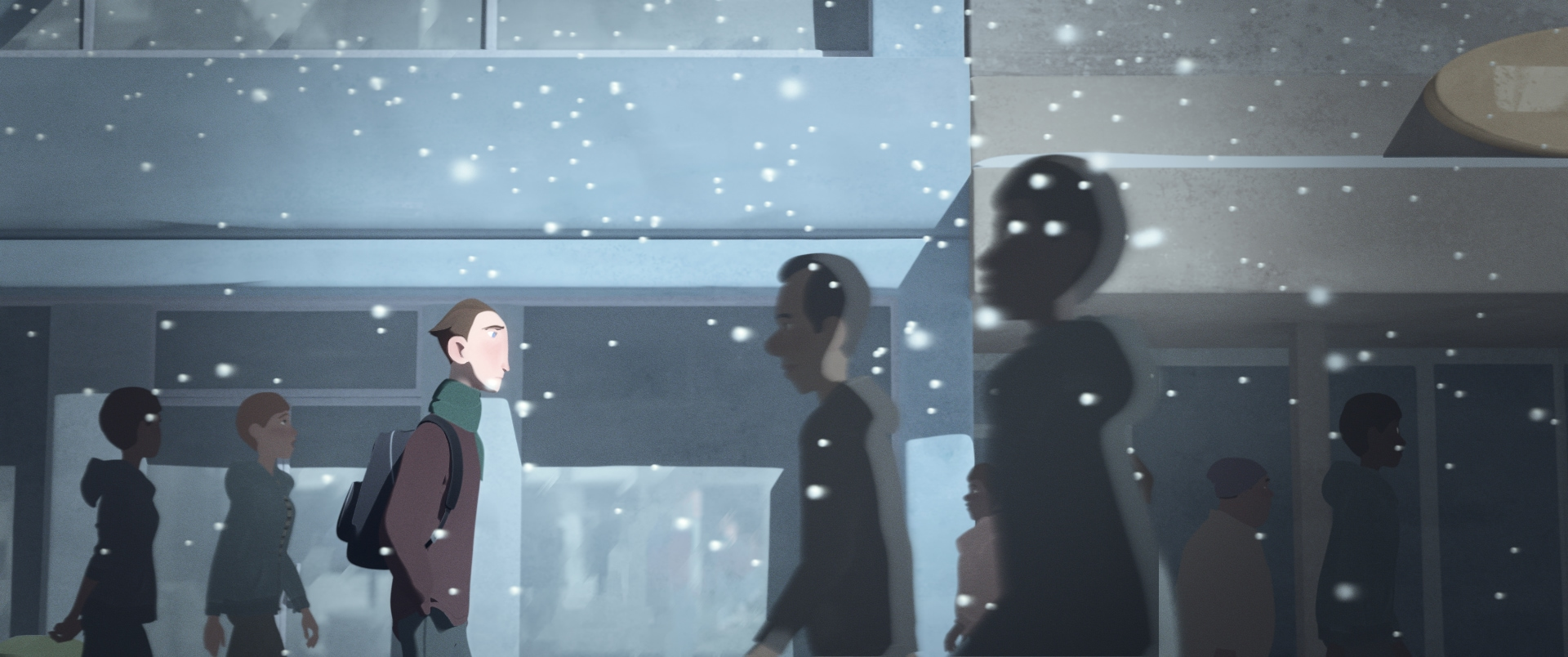 Character from Going Home short walking in the snow