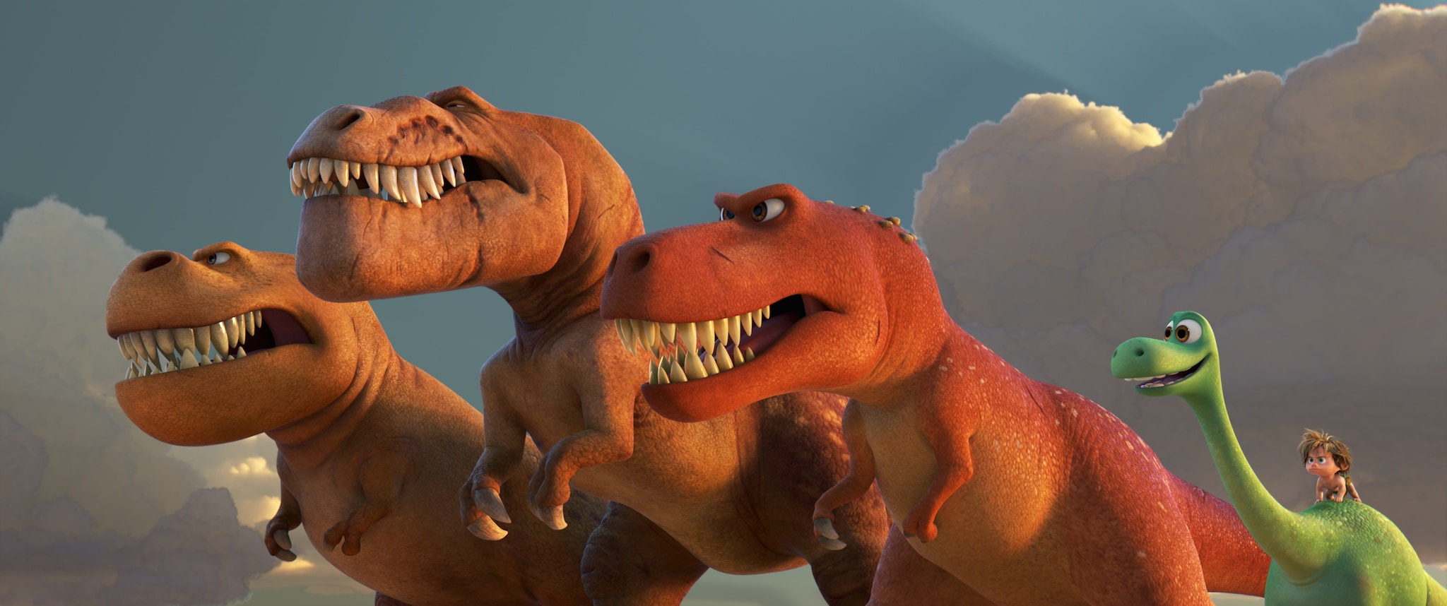 "Sam Elliott (Butch), Anna Paquin (Ramsey), A.J. Buckley (Nash), Raymond Ochoa (Arlo), and Jack Bright(Spot) in ""The Good Dinosaur"""