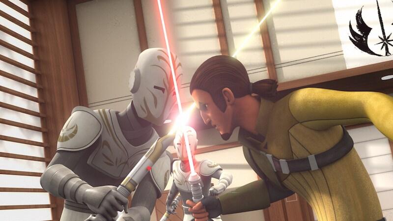 Kanan Jarrus duelling a Jedi Temple Guard