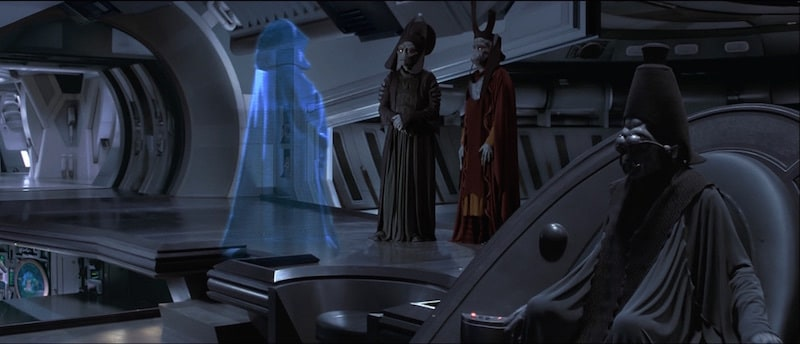 Nute Gunray during a holocall with Darth Sidious